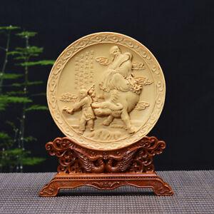 China Boxwood Carving Taoism Philosopher Lao-tzu Riding Ox Folding Screen Statue