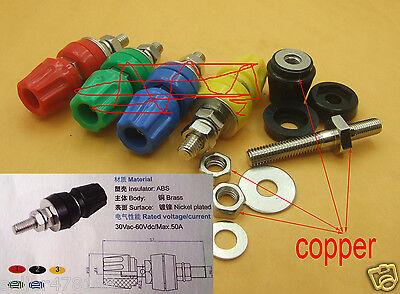 10PCS 5 color 50A 3KV Copper ΦM6 Binding Post for Power terminal 4mm Banana plug