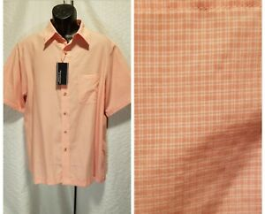 New-Roundtree-amp-Yorke-Mens-Size-L-Large-Button-Orange-Plaid-Short-Sleeve-Shirt
