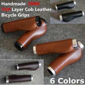 1-Pair-Vintage-Bike-Handlebar-Grips-Retro-2mm-Top-Leather-Lock-on-Bicycle-Grip