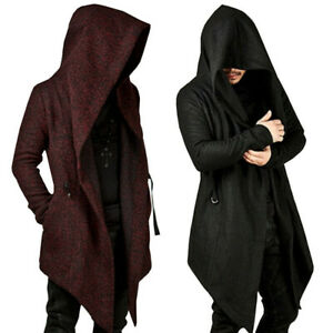 Medieval-Gothic-Men-Hooded-Cardigan-Sweatshirt-Irregular-Coat-Cape-Cloak-Costume