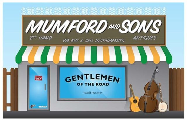 GENTLEMEN OF THE ROAD concert gig tour poster 2015 Mumford And Sons /&