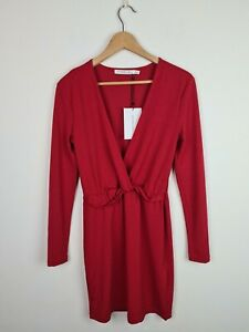 IVYREVEL Mystery Red Low V-Neck Knot Dress Women's Size S BNWT Long Sleeve Party