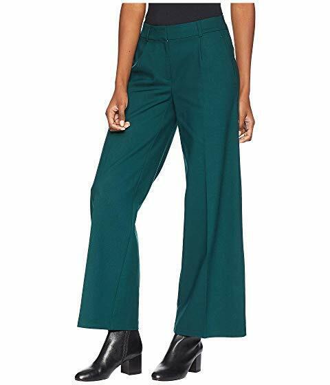 NWT Eileen Fisher Draped Tencel Stretch Wide Leg Trousers Pine Size 6 8 10