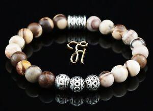 Zebra-Jaspis-braun-beige-Armband-Bracelet-Perlenarmband-Silber-Beads-8mm