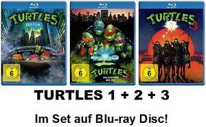 Turtles-1-2-3-Teenage-Mutant-Ninja-Film-Geheimnis-des-Ooze-3x-Blu-ray-NEU-OVP