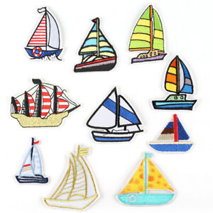 DIY-Badge-Patch-Embroidered-Boat-Sew-Iron-On-Patches-Badge-Fabric-Applique-New