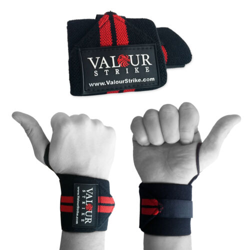 Wrist Weight Lifting Training Gym Straps Support Grip Body Building Power Velcro