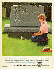 1964 vintage AD  Rock of Ages Monuments tombstones art NORMAN ROCKWELL  (120514)