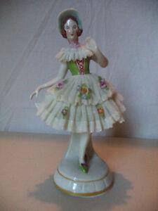 Antique-Vintage-German-Dresden-Lace-Lady-Porcelain-Figurine-Statue