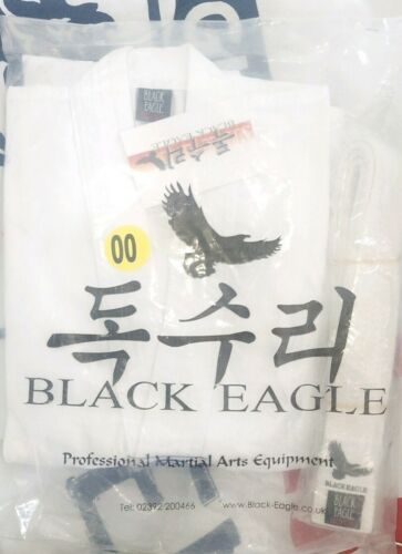 BLACK EAGLE Taekwondo suit uniform dobok size 00120 white+belt BNWT