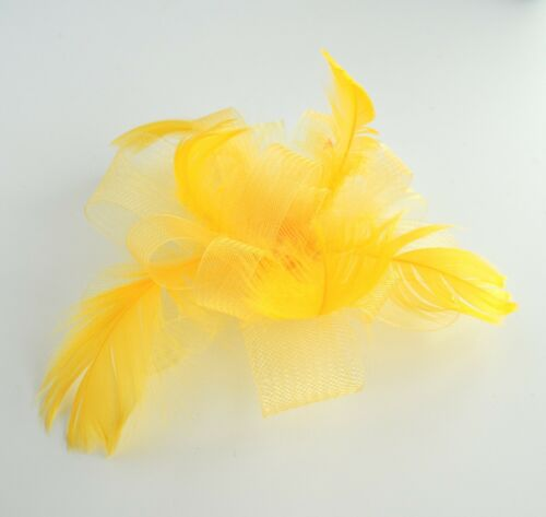 Blue//orange//you choose colour net /& feather wedding fascinator hair clip//corsage