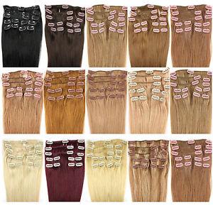 Remy-Haarverlaengerung-Clip-in-Extensions-Echthaar-Set-Echte-Haare-9-Tressen-dick