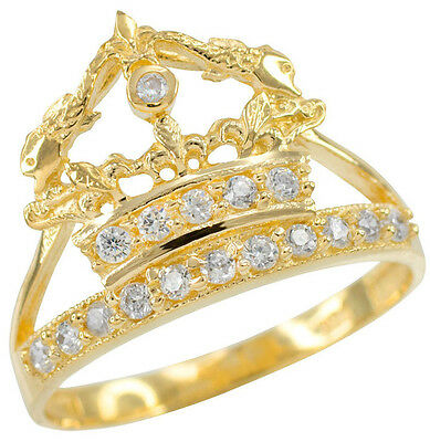 Sweet 15 A\u00f1os Quinceanera Crown Ring Quincea\u00f1era 15 A\u00f1os Crown Oro Real 14k Solid Gold 15 A\u00f1os Crown Ring Sweet 15 A\u00f1os Crown Ring