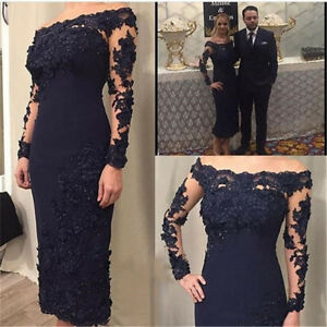 buy online c10b1 4a9c1 Details zu 2019 Brautmutter Kleider Lange Ärmel Hochzeitsgast Kleid Tee  Länge Übergröße