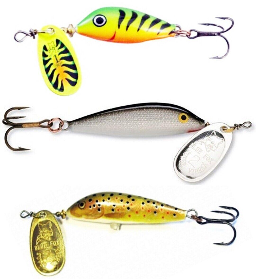 Panfish Trout Bass Lures NIB 3 Blue Fox Vibrax Minnow Spin VMS3 S//RT//MN 3//16 oz
