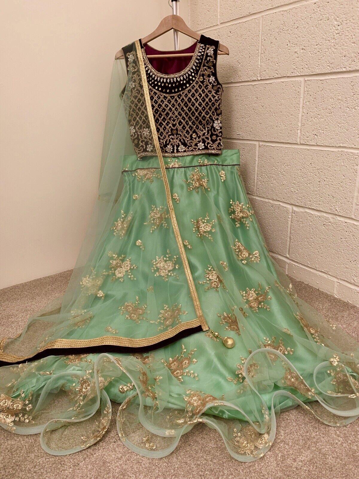 venditore del Regno Unito  Indiano, Pakistani, abito, cucite, langha Tuta. UK Taglia  -12 (circonferenza petto -40)