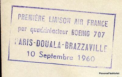 FleißIg 1960 Boeing 707 Paris Douala Brazzaville Luftpost Luftfahrt Premier Flug Ac09 Briefmarken