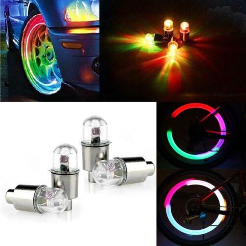 4 Pieces LED Car Bike Lights Lamps Tire Valve Caps Neon Lights Wheel Lights Car