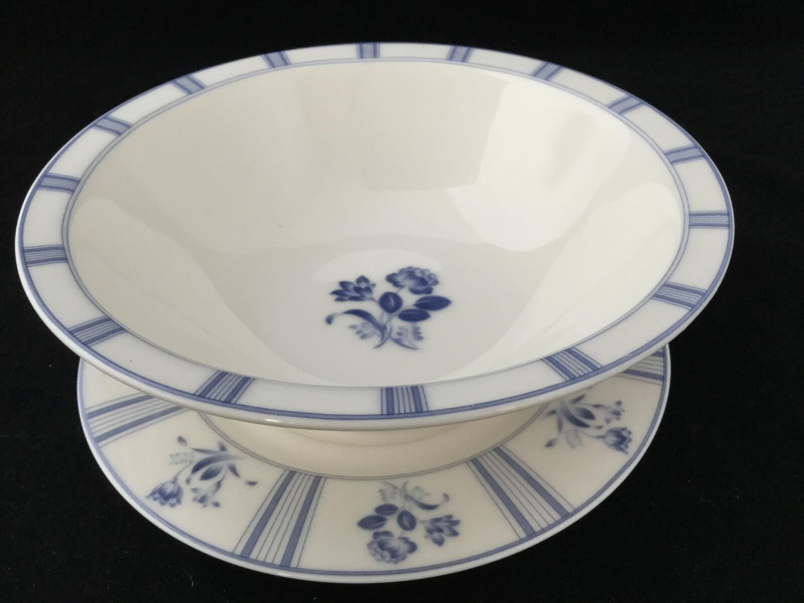 bluee Flower Epoch blueE TAPESTRY 3 Rim Cereal Bowls & 3 Saucer Plates - FREE SHIP