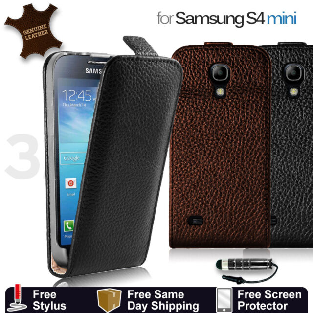 GENUINE LEATHER FLIP CASE COVER FOR SAMSUNG GALAXY S4/ S4 MINI  +Film + Stylus