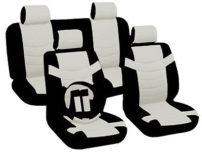 BLACK/WHITE Accent Synth PU Leather Seat Covers Set Steering Wheel Low Back CS1