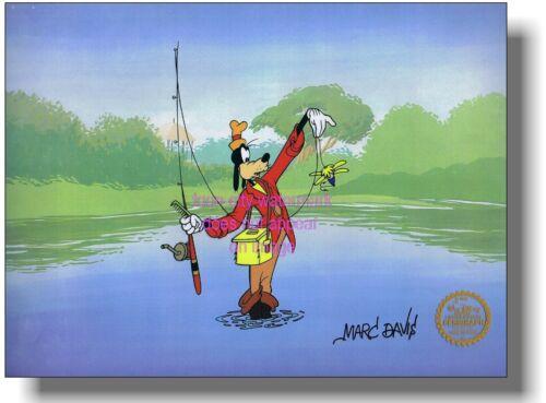 Goofy Fish Autographed Walt Disney Sericel Cel Elite MARC DAVIS Fly Fishing