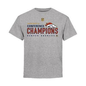 premium selection 84b30 494c7 Details about Denver Broncos T Shirt Youth Gray AFC Conference Champions  Trophy Super Bowl 50
