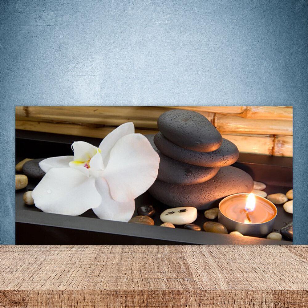 Crédence de cuisine en verre Panneau Paroi 100x50 Art Fleur Pierres Bougie