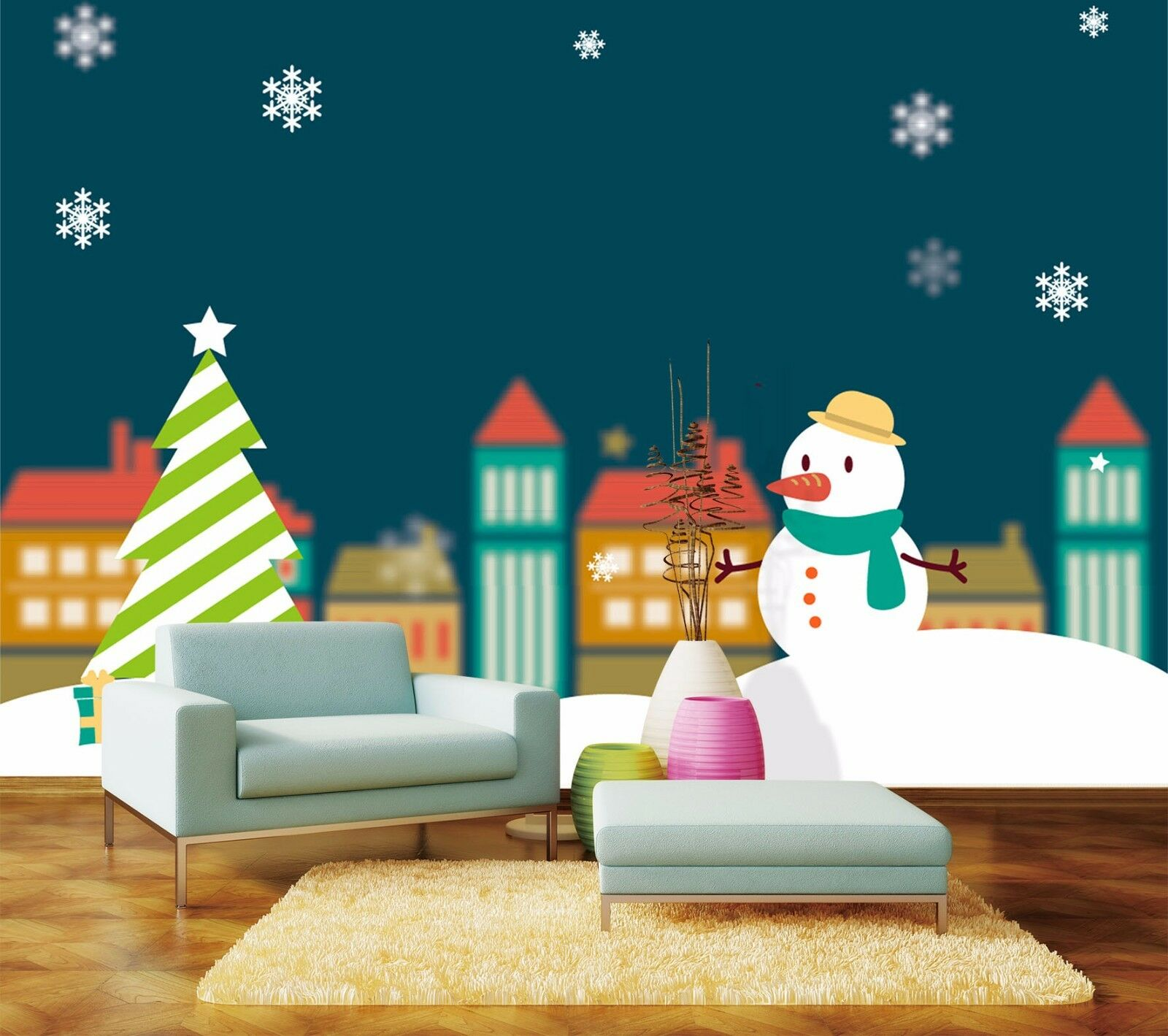 3D Christmas snowman pattern Wall Paper Print Decal Wall Deco Indoor wall Mural