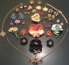 Vintage Enamel Flower Pin Brooch Lot Rhinestone Jewelry, Set Earrings
