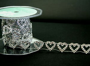 Craft-SILVER-DIAMANTE-look-TRIM-Large-HEART-20x20mm-2-Metres-Y19-GreenTara-C