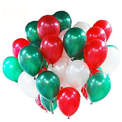 "Merry Christmas 12/"" Metallic Balloons Green Red /& White Xmas Decoration Pack100"