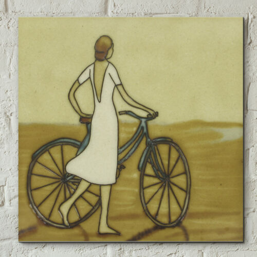 """Vintage Seaside Stroll Ceramic Picture Tile Decorative Wall Plaque 8x8/"""" 05472"""