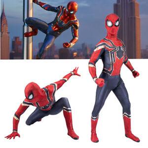 Adult Kids Avengers Infinity War Iron Spiderman Superhero Cosplay Costume Outfit