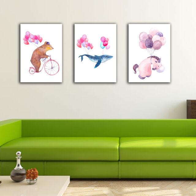 3 30??40??3cm Animal Balloon Canvas Prints Framed Wall Art Home Decor Gift