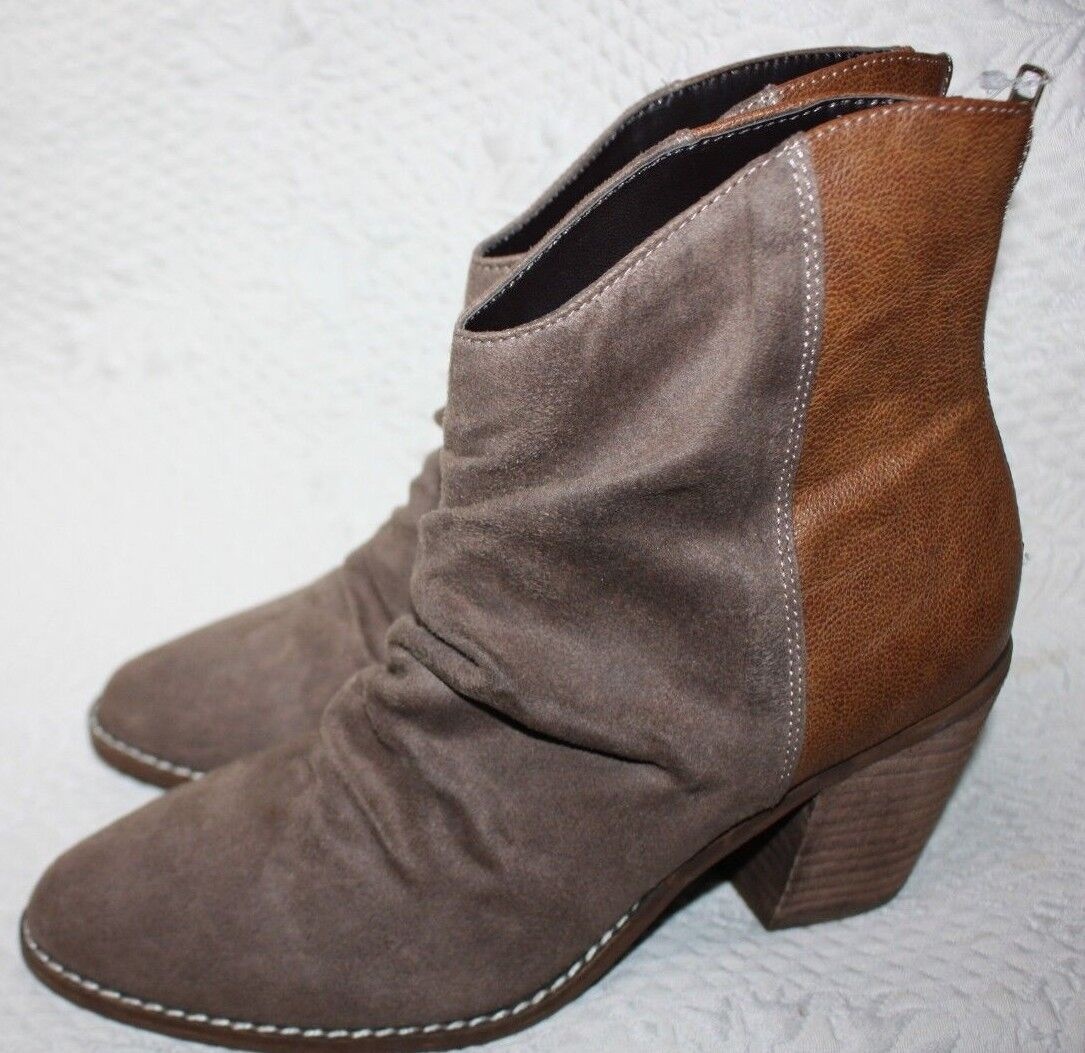 NWT Altar'd State Women's Booties Boots Size 7.5 Brown Ruched Suede Cowboy style