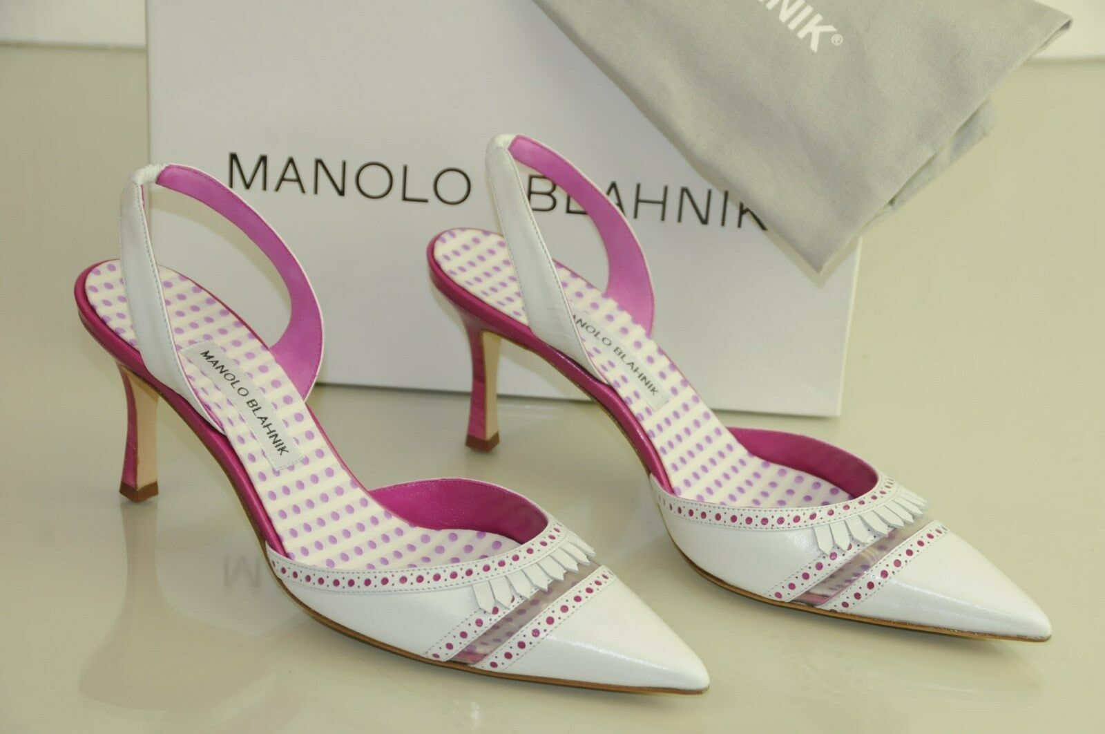 prezzo ragionevole  945 New Manolo Manolo Manolo Blahnik PETARDA bianca rosa Dots Carolyne Heels scarpe 40.5  consegna rapida