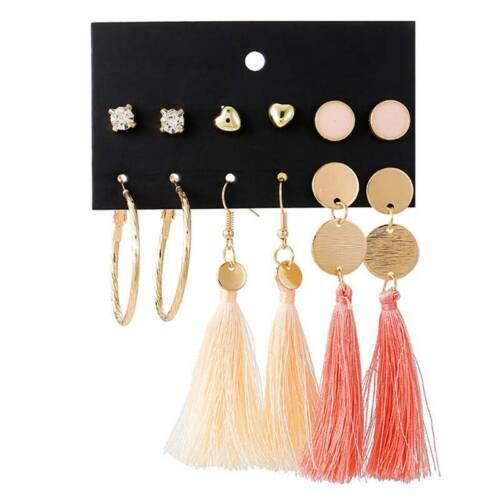 6Pairs Women Boho Earrings Tassel Crystal Pearl Set Ear Stud Dangle Jewelry Gift