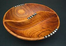 "African Olive Wood Ethnic Carved Aperitif Nut Crisp Bowl 8"" diam Fairtrade Craft"