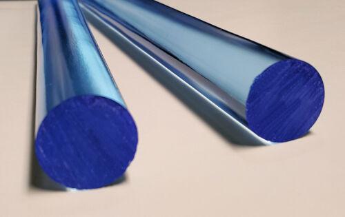 "CLEAR BLUE FLUORESCENT ACRYLIC PLEXIGLASS LUCITE ROD 1"" DIAMETER 12"" INCH LONG"