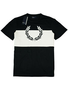 Fred-Perry-T-Shirt-Laurel-Wreath-Print-M4546-608-Navy-Weiss-Lorbeerkranz-7402