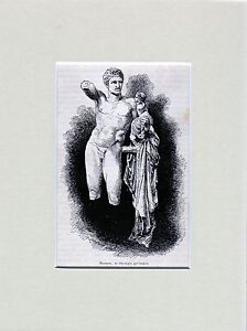 Antique-matted-print-Hermes-statue-Olympia-Elis-Eleia-Olympia-Greece-1887