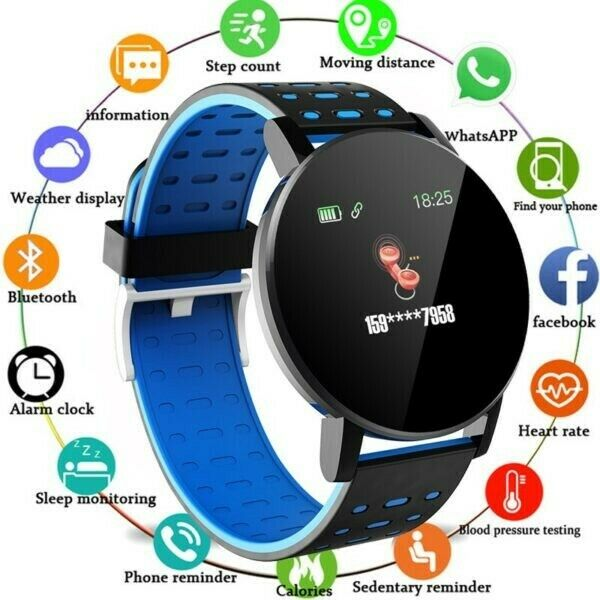 119 Plus Men Women Heart Rate Monitor Smart Watches - Android / iOS