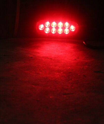 """2 Red 6/"""" LED OBLONG OVAL STOP TAIL TURN LIGHT CLEAR LENS TRUCK TRAILER RV NEW"""