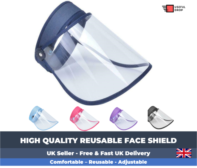 Protective Visor Anti Droplet Dust-Proof Protect Transparent Covering Visor Best Shield Plus 1 Extra Screen Free PACK OF 1