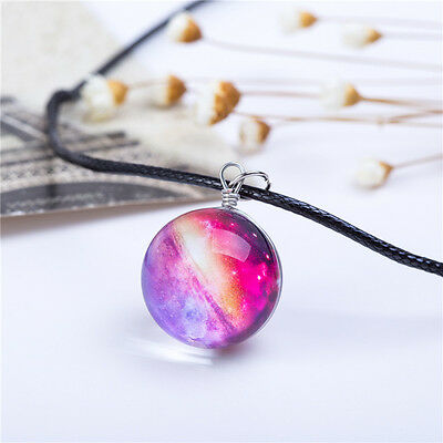 Creative Sparkling Glass Ball Star Galaxy Pattern Short Pendant Necklace Jewelry