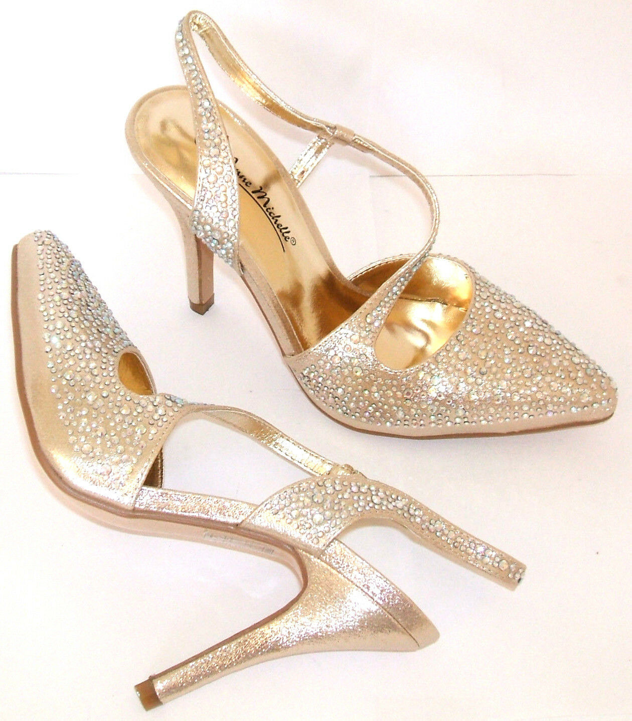 ANNE MICHELLE SIZE 2 3 4 5 6 7 gold DIAMANTE PROM BRIDAL SLINGBACK COURT SHOES