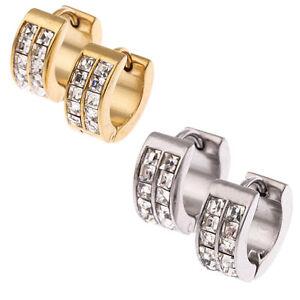 Stainless-Steel-Womens-Mens-Hoop-Earrings-Huggie-Earrings-CZ-Piercings-Hypoaller