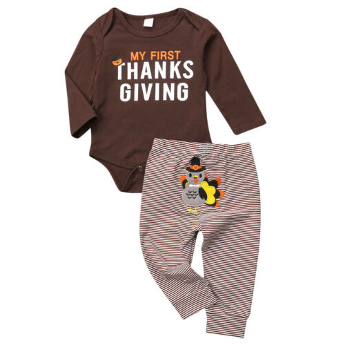 Pants Outfit Costumes USA Thanksgiving Clothes Infant Baby Boy Romper Bodysuit